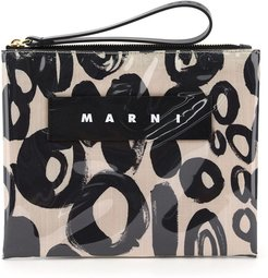 Small Glossy Grip Abstract Drops Print Pouch