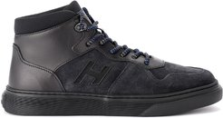 H365 Basket Black Leather And Suede Sneaker