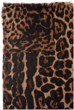Woman Large Square Leopard Scarf In Beige And Brown Cashmere Etamine