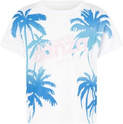 White T-shirt For Girl With Azure Palms