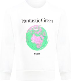White Sweatshirt For Kids With Planet