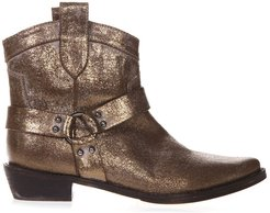 Bronze Fabric Vintage Texan Ankle Boots