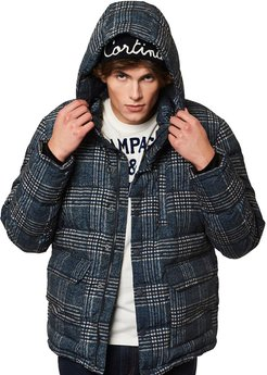 Blue Prince Of Wales Check Hooded Down Padded Jacket Wool Effect