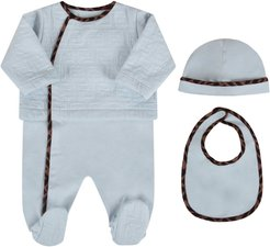 Light Blue Set With Double Ff For Baby Boy