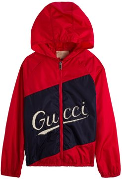 Red And Blue Nylon Jacket With Logo