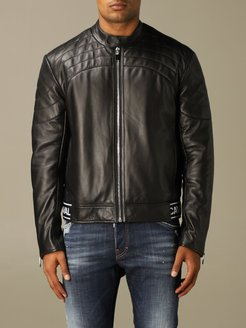 Jacket Just Cavalli Leather Biker With Logo Band