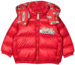 Red Padded Jacket With Frontal Logo