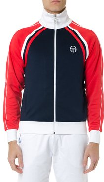 Red Blue And White Zipped Sweatshirt In Mixed Cotton