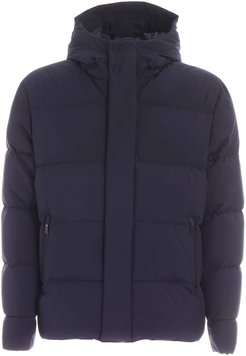 Quilted Blue Down Jacket With Hood