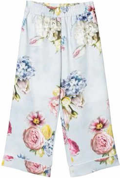 Floral Print Turn Up Cuff Trousers