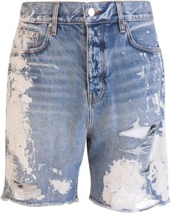 Denim Shorts With Distressed Effect