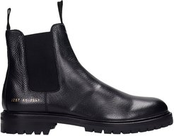 Winter Chelsea Ankle Boots In Black Leather