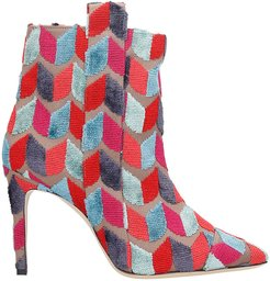 High Heels Ankle Boots In Rose-pink Wool