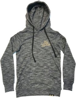 Stay Winning Women Script Logo Gold Embroidered Marled Ash Hoodie