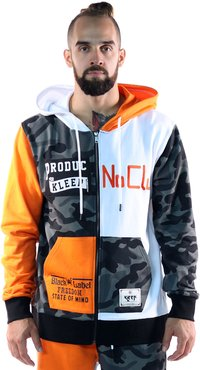 KLEEP Men's Premium French Terry Zip Down Hoodie with Cut Block&Patches&Prints