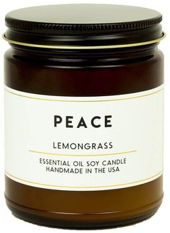 Peace Lemongrass Essential Oil Aromatherapy Candle