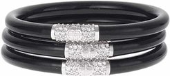 Black All Weather Bangles (AWB) - Silver Bead