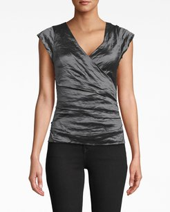 Nicole Miller Logan Techno Metal V-Neck Top In Navy Blue | Polyester/Leather/Elastane | Size Extra Large