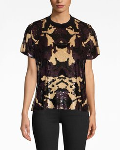 Nicole Miller Camouflage Sequin T-Shirt | Leather/Nylon | Size Extra Large