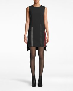 Nicole Miller Exposed Zippers Shift Dress In Black | Polyester/Viscose/Elastane | Size Extra Large