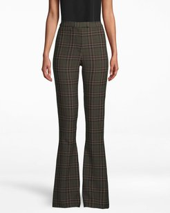 Nicole Miller Jagger Plaid Bell Bottom Pant In Olive Green   Polyester/Spandex/Viscose   Size 14