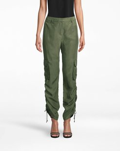 Nicole Miller Washed Habotai Cargo Pant In Camouflage Green   Silk   Size 14
