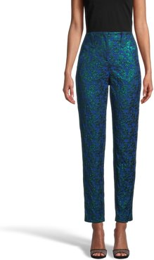 Nicole Miller Metallic Floral Pant In Bronze   Polyester/Nylon   Size 14