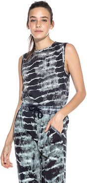 Nicole Miller Tie Dye Muscle Tee In Black/White | Leather/Cotton | Size Extra Large