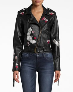 Nicole Miller Crane And Cherry Blossom Leather Moto Jacket In Black   Viscose/Leather   Size Extra Large