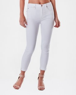 Nicole Miller Soho High Rise Crop Skinny Jeans In White | Spandex/Cotton | Size 14