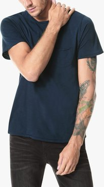 Joe's Jeans Chase Raw Edge Crew Men's T-Shirt in Navy Blue   Size 2XL   Cotton