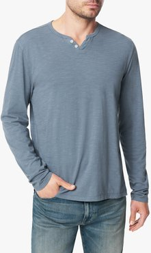 Joe's Jeans Wintz Long Sleeves Slub Henley Men's T-Shirt in Flint/Blue | Size 2XL | Cotton