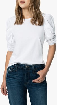 Joe's Jeans Solid Twisted Sleeve T-Shirt Women's in White | Size Large | Cotton