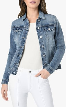 Joe's Jeans The Relaxed Jacket Women's in Dolores/Medium Indigo | Size Large | Cotton/Spandex