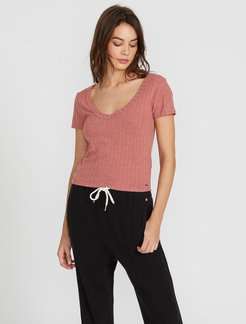 Volcom Lived In Lounge Short Sleeve - Rose Wood - Rose Wood - L