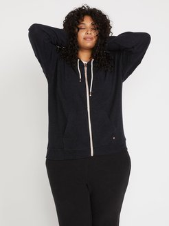 Volcom Lived In Lounge Zip Fleece Plus Size - Black - Black - 18W