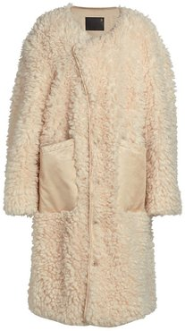 Shearling Military Liner Coat in Beige size Small