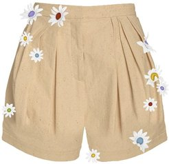 Easy Pleated Daisy High Waisted Shorts in Sand size 0 US