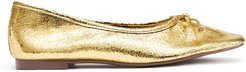 Arissa Flat - 5.5 Ouro Gold Metallic Crackled Leather