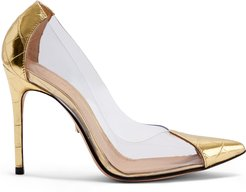 Cendi Pump - 5.5 Ouro Gold Crocodile Embossed Leather & Vinyl