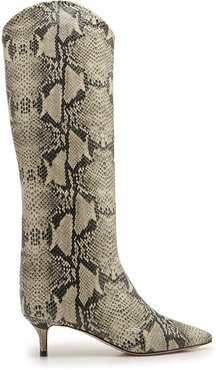 Abbey Boot - 5 Natural Snake Snake Effect Leather