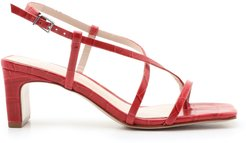 Kagenia Sandal - 8.5 Red Lipstick Crocodile Effect Leather