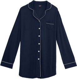 Bella Plus Sleep Shirt | Plus Blue Cotton Shirt