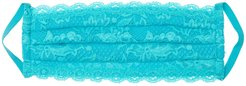 Never Say Never Pleated Face Mask | One Size Blue Lace Accessory