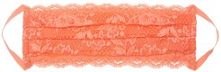Never Say Never Pleated Face Mask | One Size Orange Lace Accessory