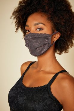Never Say Never Pleated Face Mask   One Size Gray Lace Accessory