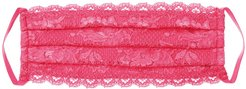 Never Say Never Pleated Face Mask | One Size Pink Lace Accessory