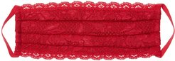 Never Say Never Pleated Face Mask | One Size Red Lace Accessory