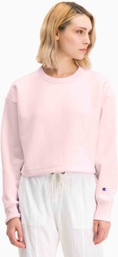 Cropped Crewneck Sweatshirt in Feather Pink Bandier