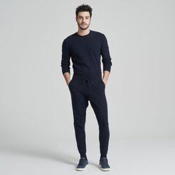 Cotton Cashmere Sweatpants in Navy